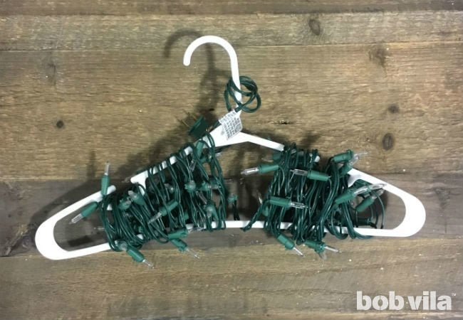 How to Store Christmas Lights - Wrap Around a Hanger