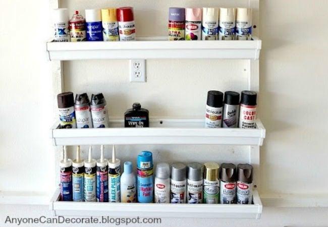 DIY Garage Shelves - Gutters