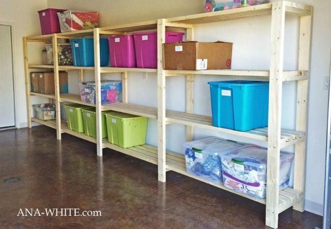 DIY Garage Shelves - Wood