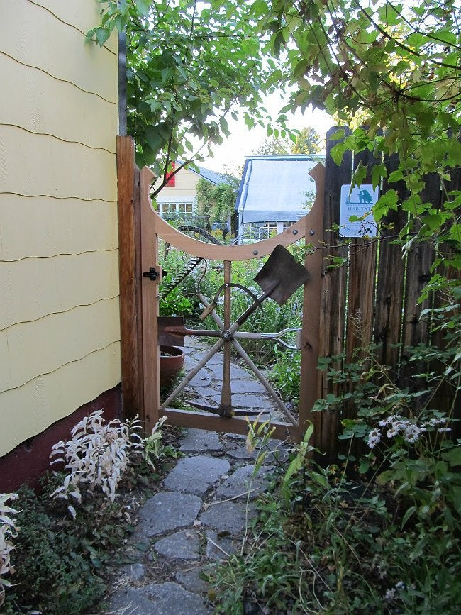 DIY Fence Gate - Repurposed Garden Tools as Gate