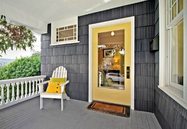 How to Paint a Metal Door - Steel Entry Door Colored Yellow