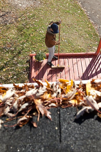 Deck Maintenance - Sweeping Leaves
