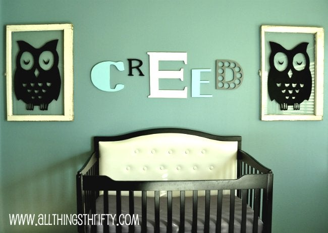 DIY Crib - Tufted Crib Update from All Things Thrifty