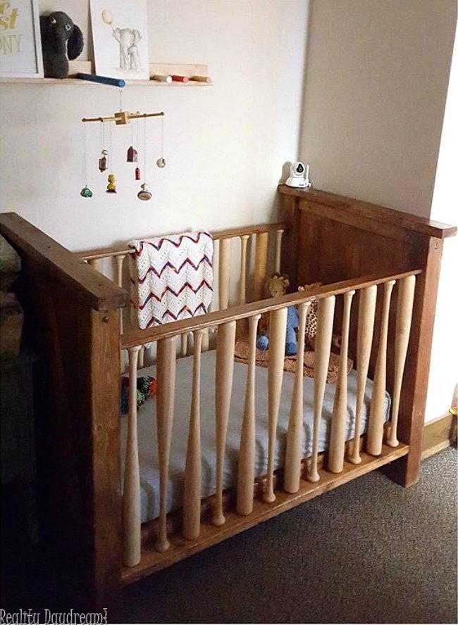 DIY Crib - Baseball Bat Crib from Reality Daydream