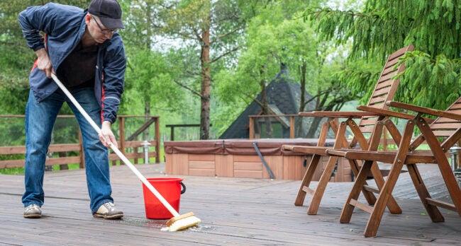applying homemade deck cleaner
