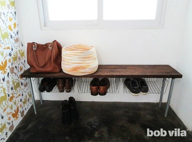 DIY Shoe Storage - Entryway Bench