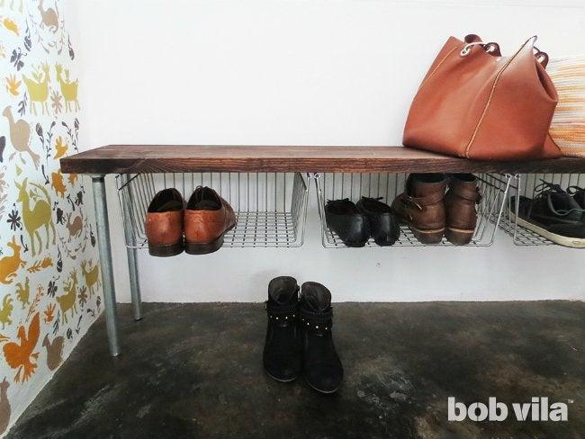 DIY Shoe Storage - Close-up of Finished Bench