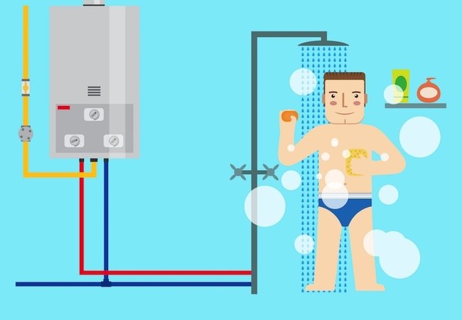 Energy Efficient Water Heaters - Shower Illustration