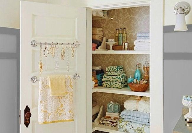 Small Closet Ideas - Repurposed Towels Rods