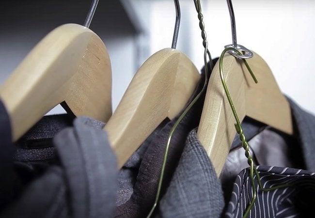 Small Closet Ideas - Soda Tab Hanger Trick