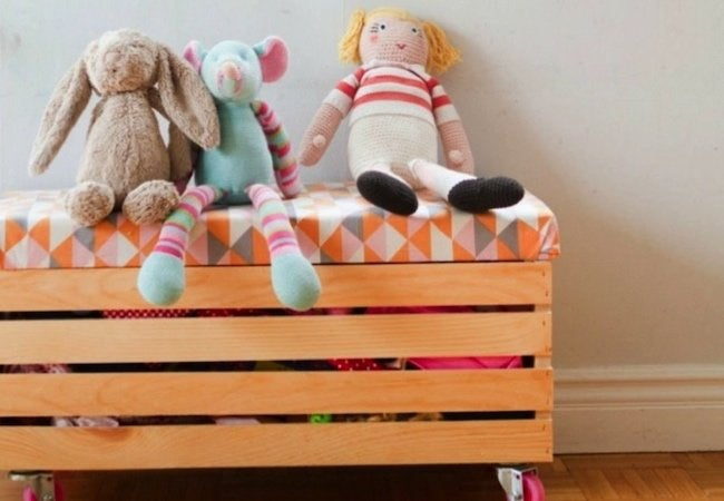 Toy Storage Ideas - DIY Crate on Rollers