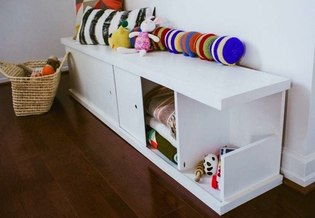 Toy Storage Ideas - DIY Nursery Bench