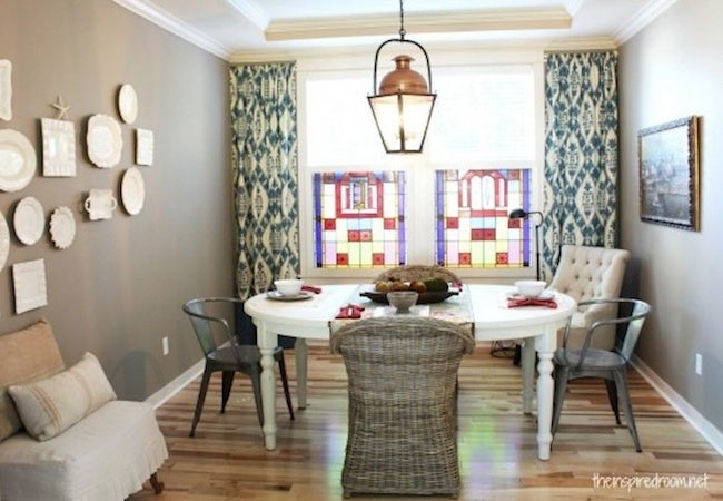 Small Dining Room Ideas - Tall Curtains