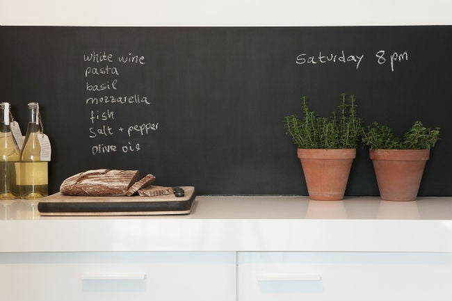 DIY a Removable Backsplash with Chalkboard Wallpaper