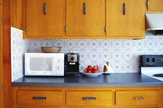 DIY a Removable Backsplash with Renter-Friendly Wallpaper