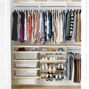 The Best Closet Systems Option: Elfa Décor 6' Birch & White Reach-In Clothes Closet
