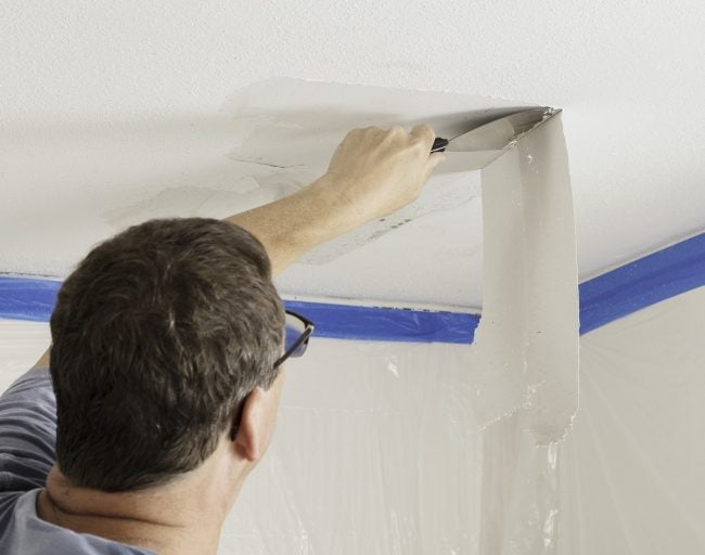 Removing Popcorn Ceiling with a Taping Knife