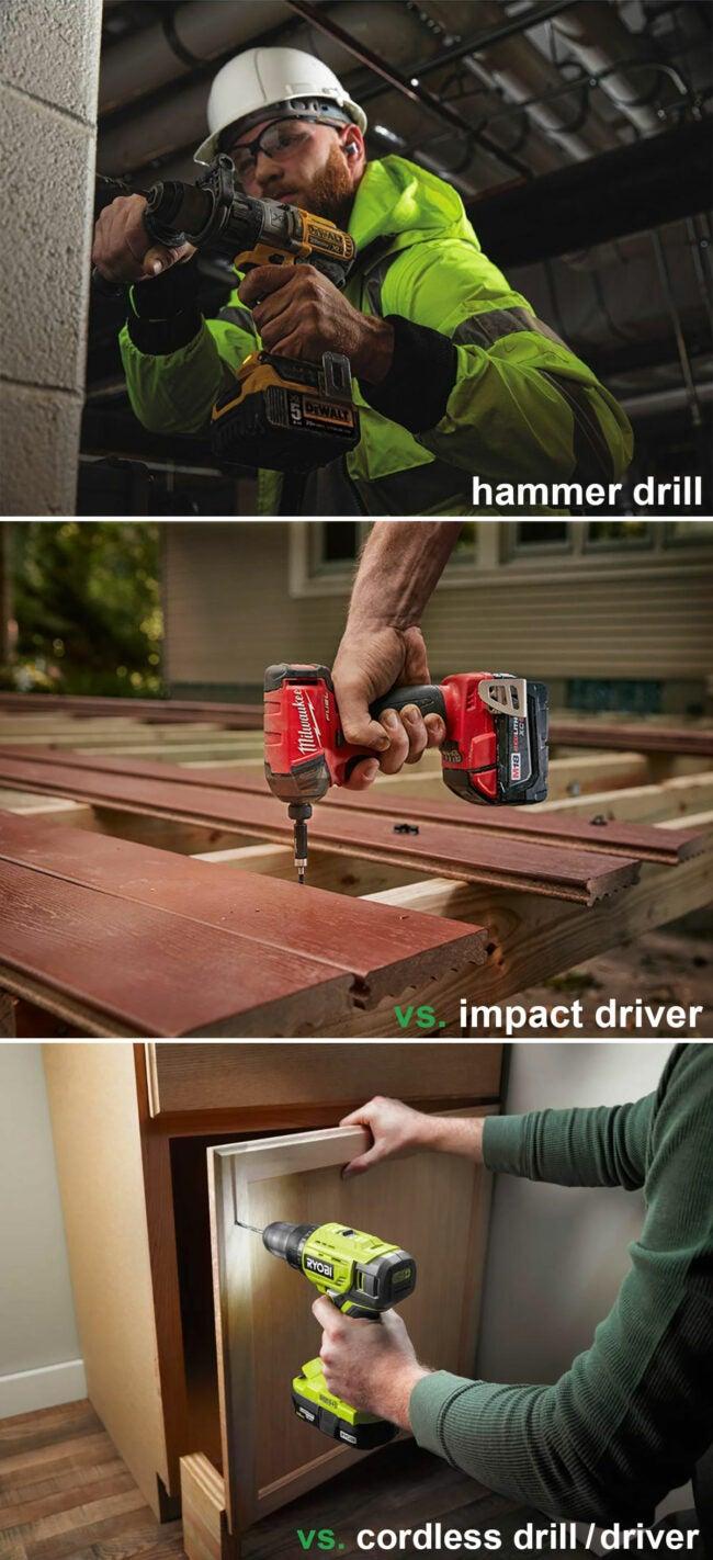 hammer drill vs impact driver vs cordless drill/driver