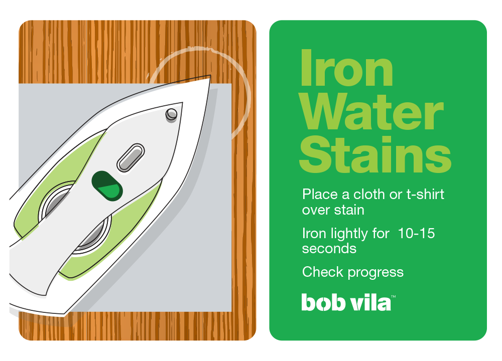 Remove water stains with wood with clothes iron