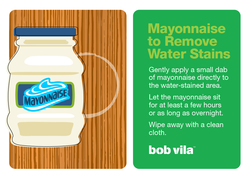 Remove water stain from wood with mayonnaise