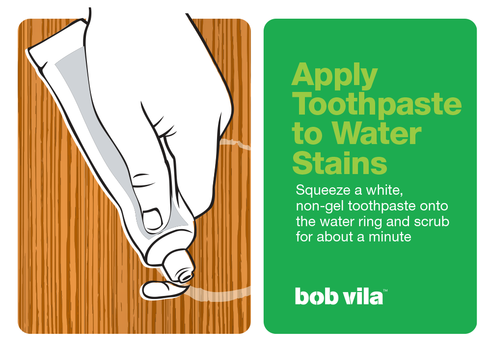 Remove water stain from wood with toothpaste