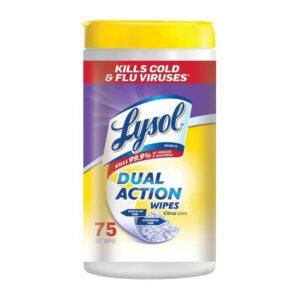 The Best Bathroom Cleaner Option: Lysol Dual Action, Disinfecting Wipes