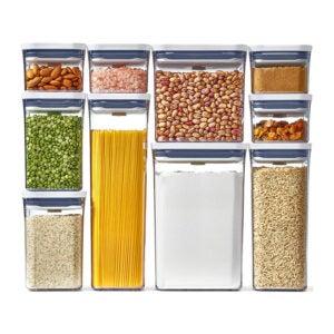 最好的食物储存容器选项:Oxo好夹具10片流机集装箱套装