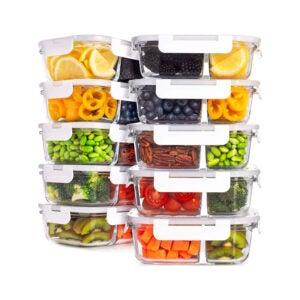 最好的食品储存容器选项:准备Naturals玻璃食品储物容器带盖