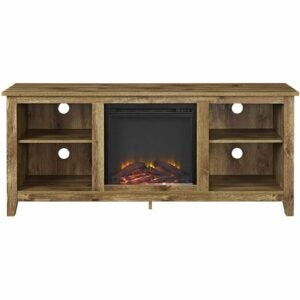 The Best Electric Fireplace Option: Walker Edison Wren Classic 4 Cubby Fireplace TV Stand