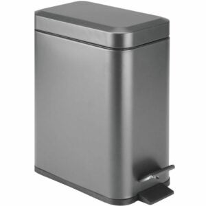 The Best Kitchen Trash Can Option: mDesign 1.3 Gallon Rectangular Slim Profile Metal Can