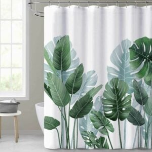 The Best Shower Curtain Option: KGORGE Shower Curtains for Bathroom - Tropical Leaves