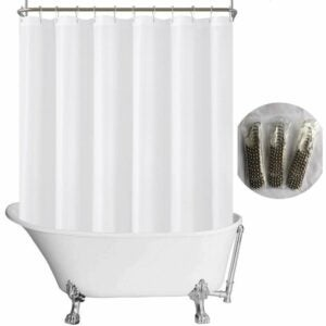 The Best Shower Curtain Option: N&Y HOME Fabric Clawfoot Tub Shower Curtain