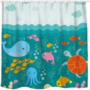 The Best Shower Curtain Option: Sunlit Lovely Cartoon Sea Creatures Fabric Shower