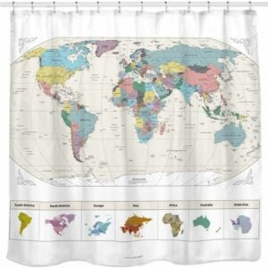 The Best Shower Curtain Option: Sunlit Map of the World with Detailed Major Cities