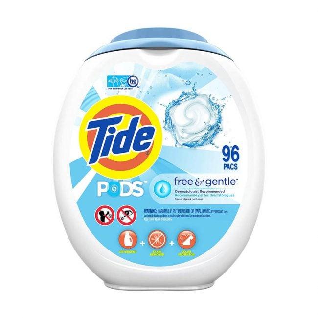 最好的洗衣粉选项:潮汐豆荚免费和温和的洗衣粉
