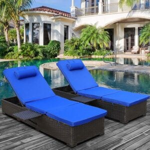 The Best Lounge Chair Option: WAROOM Outdoor PE Wicker Chaise Lounge Chair Set