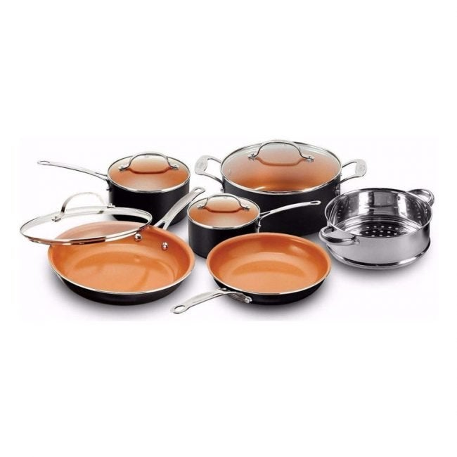 The Best Copper Cookware Option: Gotham Steel 10-Piece Frying Pan and Cookware Set