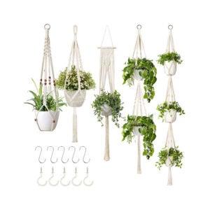 The Best Hanging Planter Option: GROWNEER 5 Packs Macrame Plant Hangers