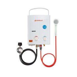 最佳无罐燃气热水器选择:Camplux 5L 1.32 GPM户外便携式丙烷无罐热水器