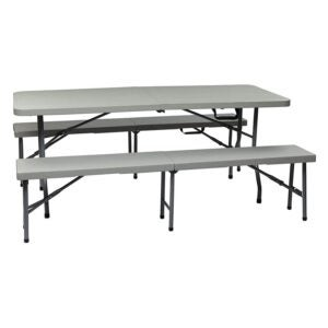 The Best Folding Table Option: Office Star Resin 3-Piece Folding Bench and Table Set