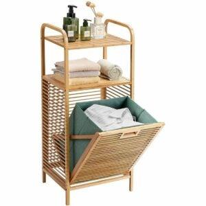 最佳洗衣篮选择:Giantex洗衣篮竹制,带搁板