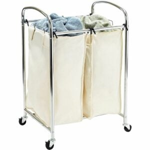 The Best Laundry Hamper Options: Seville Classics Mobile 3 Laundry Hamper Sorter