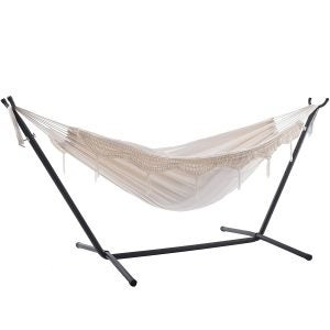Best Hammock Stand Options: Vivere Double Hammock with Space Saving Steel Stand, Natural