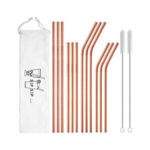 The Best Reusable Straw Option: Hiware 12-Pack Rose Gold Stainless Steel Straws