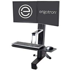 最佳站立式办公桌转换器选择:Ergotron WorkFit-S坐立双工作站