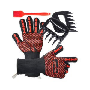 The Best BBQ Gloves Option: EUHOME 3 in 1 BBQ Gloves, Grill Brush, BBQ Bear Claws