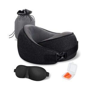 The Best Travel Pillow Option: MLVOC 100% Pure Memory Foam Neck Pillow Travel Kit