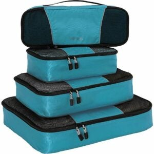 The Best Packing Cubes Option: AmazonBasics 4 Piece Packing Travel Organizer Cubes
