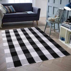 最好的区域地毯选项:Homcomoda棉花格子格仔插座地毯