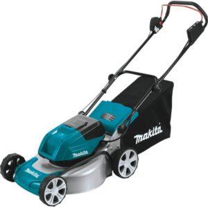 The Best Lawn Mower For Small Yards Option: Makita XML03PT1 18V X2 (36V) LXT 18 Lawn Mower Kit
